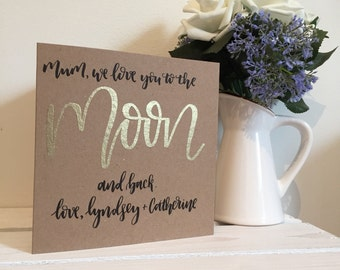 Mothers Day Card - personalised 'i love you to the moon and back' Mother's Day card