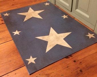 "Primitive country star floor cloth doormat blue 24""x36"" floorcloth"