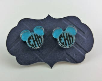 Personalized Mickey Mouse Stud Earrings in Clear Acrylic