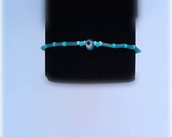 Blue Evil Eye Beaded Bracelet