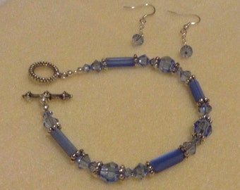 Blue Swarovski Crystal bracelet and earrings