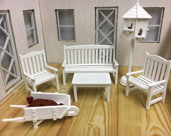 1:12 Scale Dolls House Miniature White Outdoor Furniture Set-6pcs