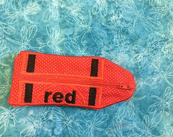 Red Crayon zippered bag cute style, holds coinsn cash