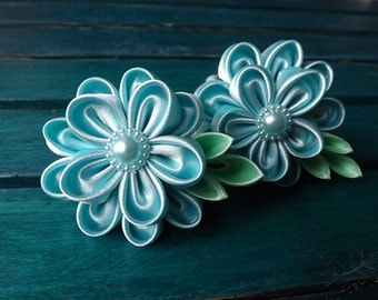 Light blue kanzashi flowers hair tie