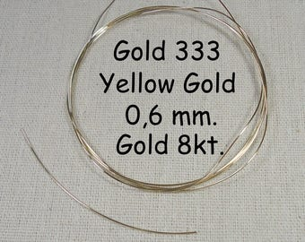 Free shipping / GoldDraht / 8 kt, 333. solid,. / 0.6 mm. yellow gold! 10 cm, yellow long, gold wire!