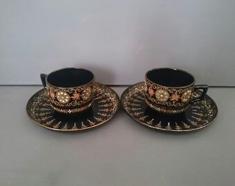 Gibson and Sons Burslem Two cups and Saucers Victoria Hand Painted
