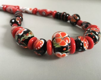 Gorgeous statement necklace from handmade glass beads. Lampwork artisan beads. Glass art. One of a kind. Handcrafted.