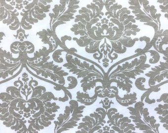 Jersey Knit Fabric, Cotton Knit Fabric, Fabric by the Yard, Stretch Fabric, Damask Fabric - Taupe Damask