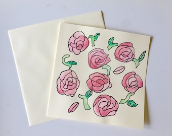 Red Roses Watercolour Card // Unique Watercolour Card // Birthday Card // Anniversary Card // Valentine's Card // Wedding Card // Easter