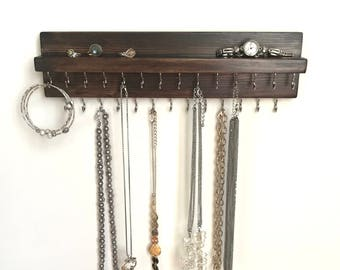 Jewelry Organizer Holder, Brown Necklace Organizer, Wall Mounted Rustic Wood, Holds Necklaces Bracelets