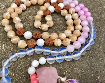 Tridacna Rudraksha Lavender Jade Mother of Pearl Pink Shell Opalite Mala Hand Knotted Aroma Tassel Necklace 108 beads