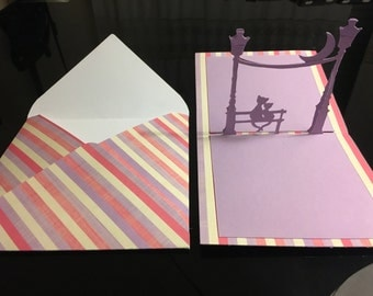 Pop up card-cats and love-cats on bench