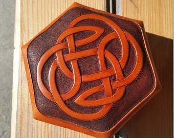 Genuine leather jewelry box with Celtic ornament and red felt knocked out