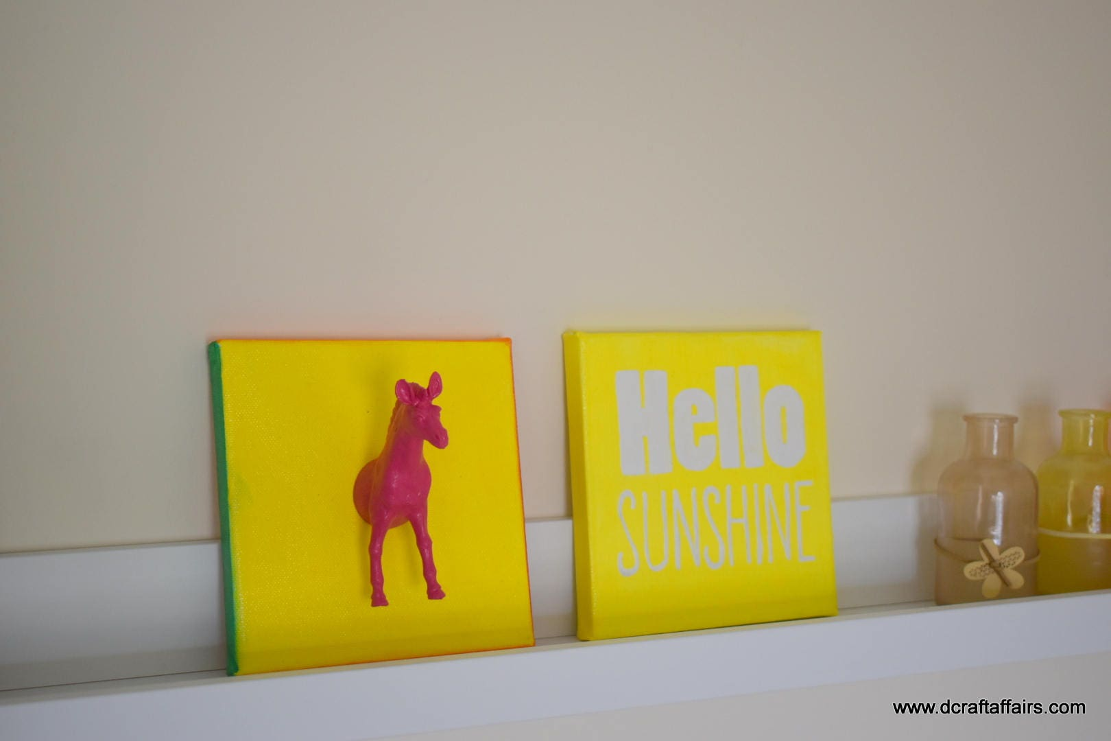 Hello Sunshine two bright hand painted canvas with pink zebra ...