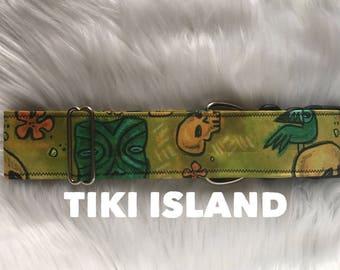 Tiki island: tiki collar, summer collar, skull, boy dog collar