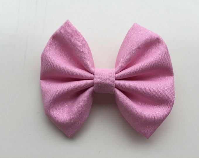 Pink Shimmer fabric hair bow or bow tie