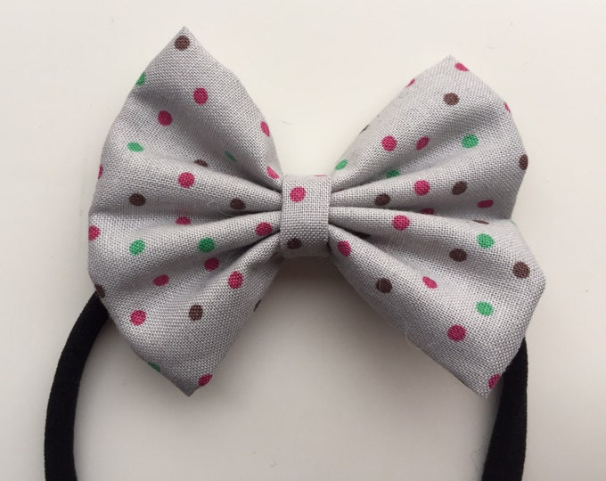 Gray Dots fabric hair bow or bow tie