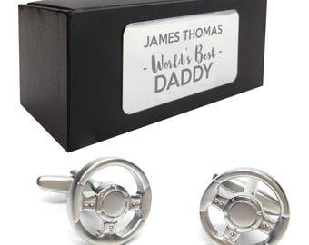 Car steering wheel CUFFLINKS World's best dad, grandad, uncle, husband birthday gift, presentation box PERSONALISED ENGRAVED plate - 050