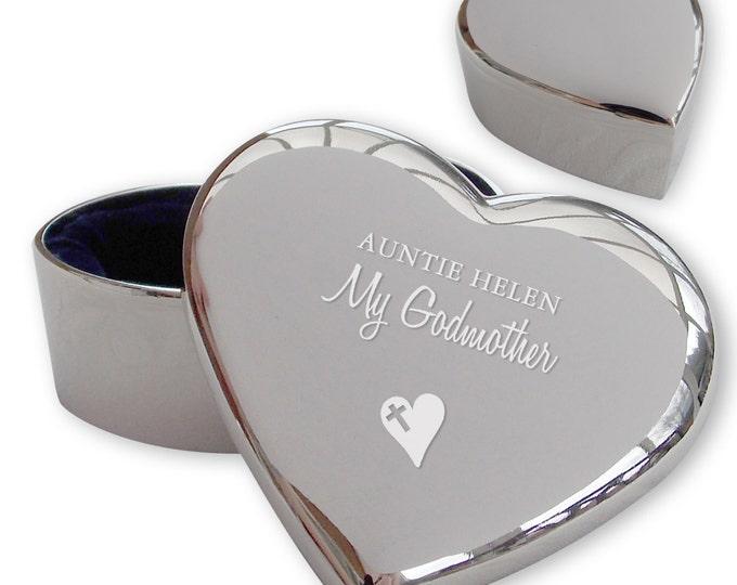 Personalised engraved GODMOTHER heart shaped trinket box christening, baptism gift idea  - TRG1
