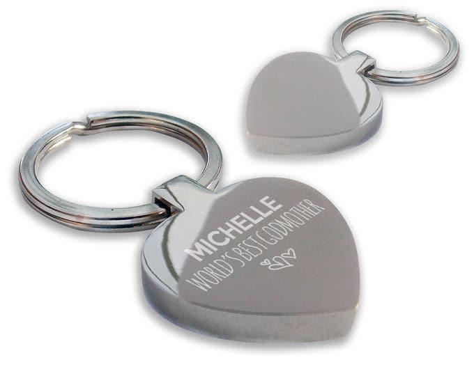 Personalised engraved World's Best GODMOTHER keyring gift, chunky heart shape keyring - HE-WB4