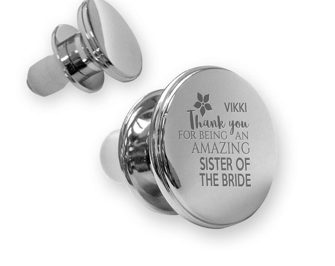 Personalised engraved SISTER of the BRIDE deluxe wine bottle stopper wedding thank you gift idea, mirror plated - WD15