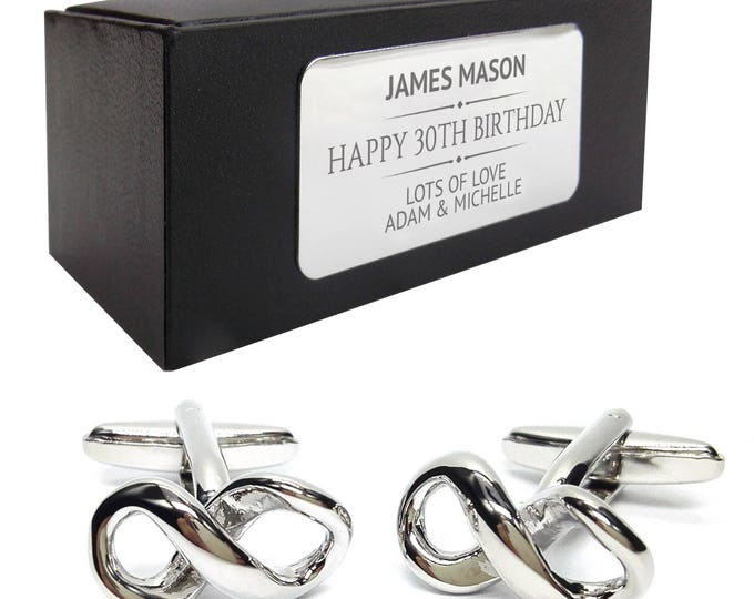 Maths infinity science CUFFLINKS 30th, 40th, 50th, 60th, 70th birthday gift, presentation box PERSONALISED ENGRAVED plate - 212
