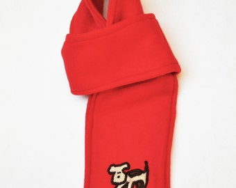 Hassle-Free Red Fleece Scarf with Embroidered Dog (Youth-Size)