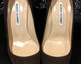 Manolo Blahnik brown suede stiletto court shoes 39 uk 6