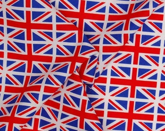 Union Jack Cotton Fabric Red White and Blue Fat Quarter