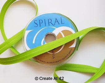 Lime Green Bias Binding 18mm Polycotton Tape Safisa Spiral Per Metre Folded