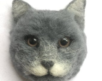 Needle Felted Cat magnet,Handmade felted animal,Felted Decor