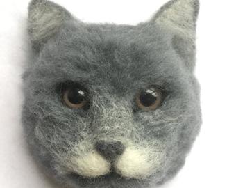 Needle Felted Cat magnet,Handmade felted animal,Felted Decor