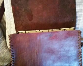 Hand-made leather messenger bag