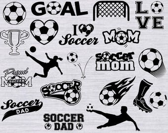 Soccer SVG Bundle, Soccer Mom svg, Soccer Ball svg, soccer player svg, svg files for silhouette or cricut, dxf, eps, soccer clipart,cuttable