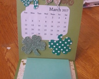 March Desk Calendar with post it notes