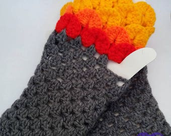 Dragon Scale, Dragonscale Fingerless Gloves, crochet wrist, hand, arm warmers, texting gauntlet, mermaid cuffs, Fire gloves