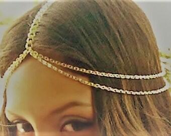 Gold Boho Bohemian Twin Tier Headpiece Head chain Bridal Festival, hand made, bridesmaid, hair chain, hair piece, adjustable sizes, pretty