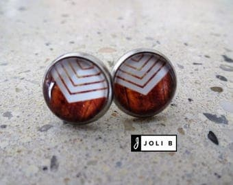 Earrings stainless steel - 12 mm - stainless earrings - glass effect wooden rafters-white glass wood