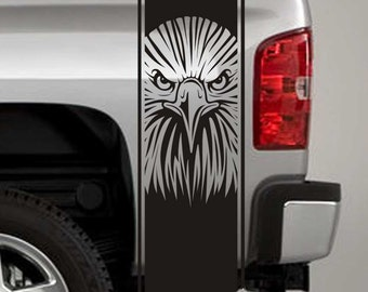 Truck Bed Stripe Decals - Eagle Head Stickers - Universal Fit (Pair x2)