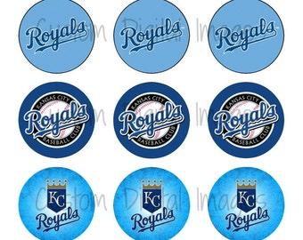 "INSTANT DOWNLOAD Kansas City Royals Bottle Cap Image Sheet | Digital Image Sheet | 4""x6"" Sheet with 15 Images"