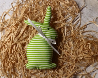 Bunny made of green white striped cotton fabric for the Easter decor