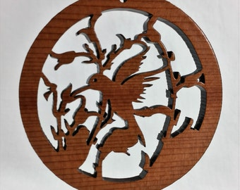 Hummingbird Circle Christmas Ornament California Redwoods Laser Cut Handmade Wood Ornament Made in USA