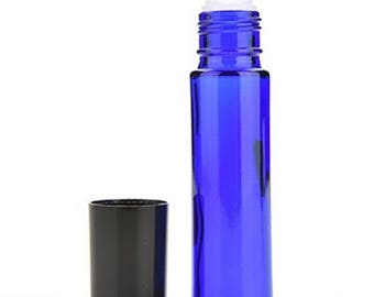 2 Pcs Blue Amber Glass Roll On Bottles