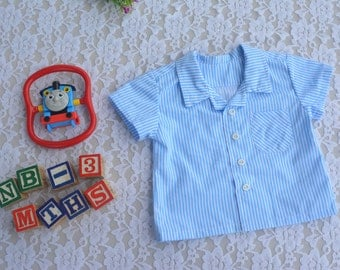 Baby Boy button up collar shirt with pocket. 0-3 months.