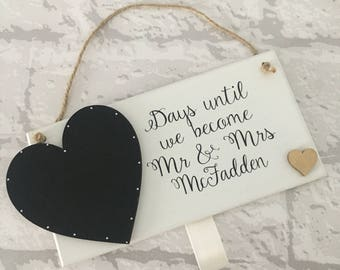 Wedding countdown personalised handmade wooden plaque. Available with many colours. Perfect engagement gift. Best selling item