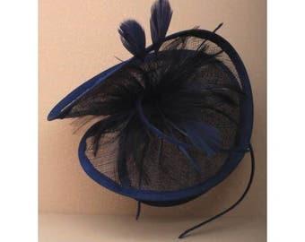 Large navy fascinator, blue headband, feather fascinator, wedding hats, formal hats, wedding fascinator, navy blue hats,