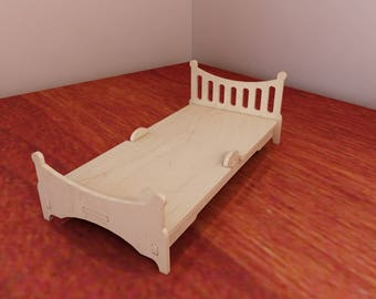 Large Bed for Barbie. Barbie-size furniture. Barbie Doll Bed. Vector model for CNC router and laser cutting. Plywood 4mm/5mm.