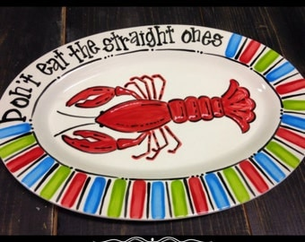 Hand Painted Oval Crawfish Platter