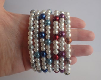 pearl finish stretch bead bracelet