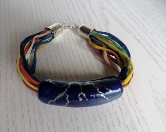 Bracelet extravagantly colorful ceramic Pearl blue silver on silk ribbon
